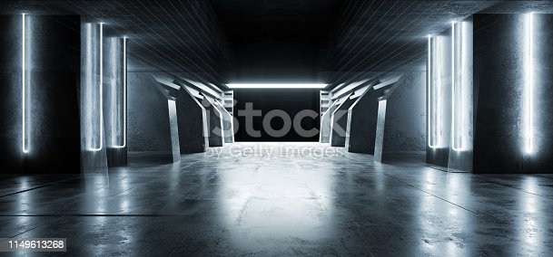 909529832 istock photo Futuristic Modern Sci Fi Concrete Hallway Corridor Tunnel Warehouse Underground Garage Grunge Dark Empty Reflection Showcase Stage White Blue Glow Spaceship 3D Rendering 1149613268