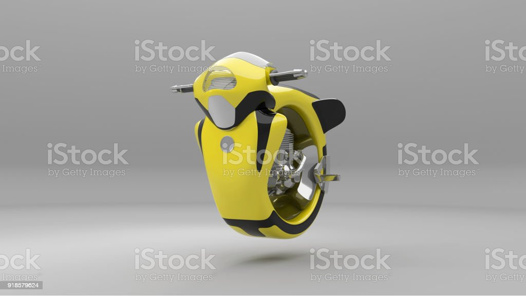 Futuristic motorcycle 3d rendering stock photo