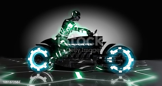 157590217 istock photo Futuristic Motorcycle and Rider 1051372584