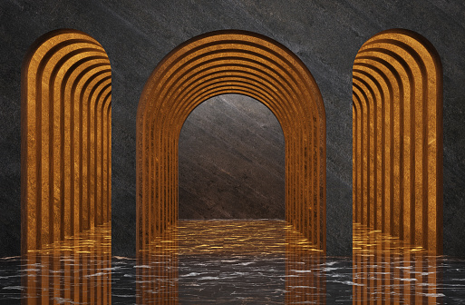 Futuristic mystery medieval interior with arch. 3d illustration
