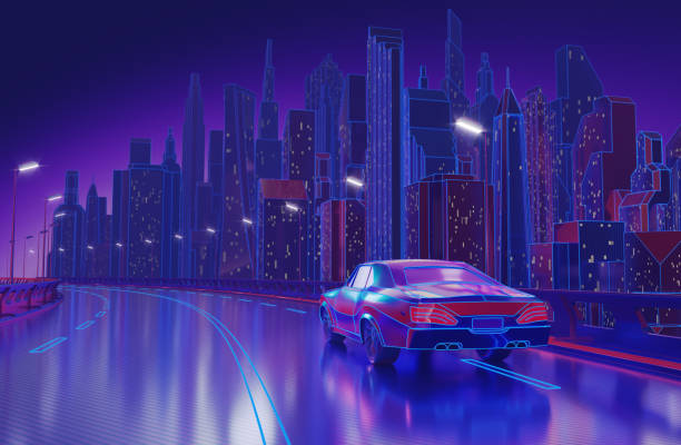 Futuristic Neon Night City Background stock photo