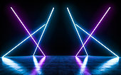 Futuristic Sci Fi blue and purple neon tube lights glowing with refelctions empty space. 3D rendering