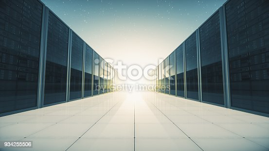 istock Futuristic Network Servers In Abstract Space 934255506