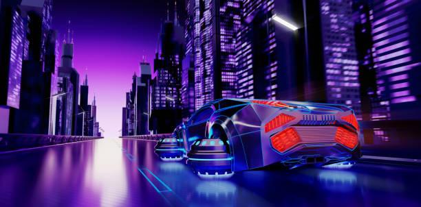 Futuristic Night City Background stock photo