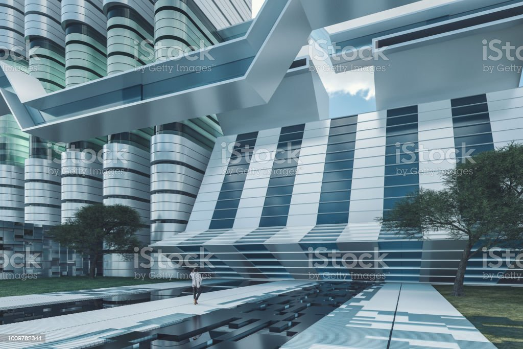 Futuristic office park with businessman walking.