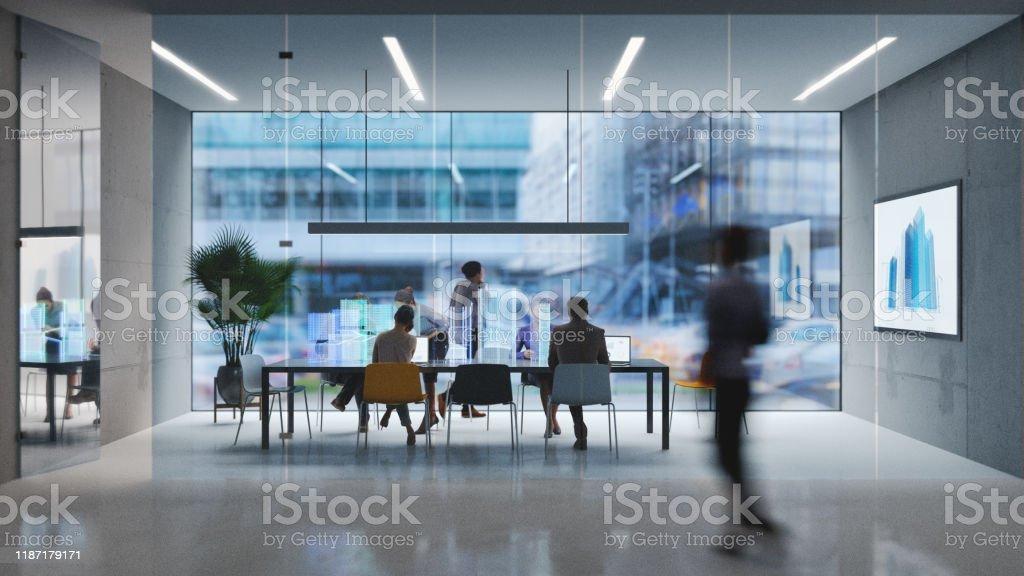 Futuristisches Büro - Lizenzfrei Abenddämmerung Stock-Foto