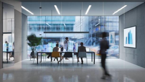 futuristic office - empresa imagens e fotografias de stock