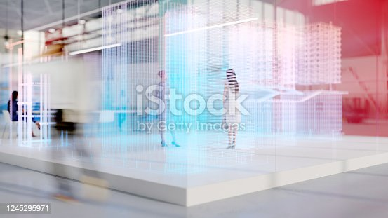 People working in an office with augmented reality software. All items in the scene are 3D