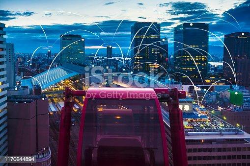 istock Futuristic Osaka electromagnetic signals 1170644894