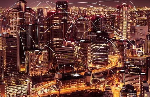 1013969318 istock photo Futuristic Osaka electromagnetic signals 1180550477