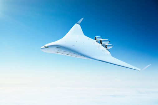 istock Futuristic passenger airplane with blended wing body design 165864134