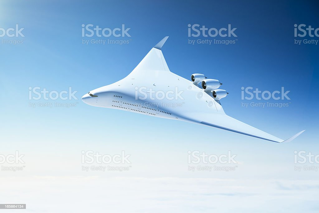 Futuristic passenger airplane with blended wing body design stock photo