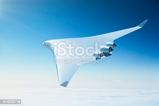 155380716 istock photo Futuristic passenger airplane with blended wing body design 474523716