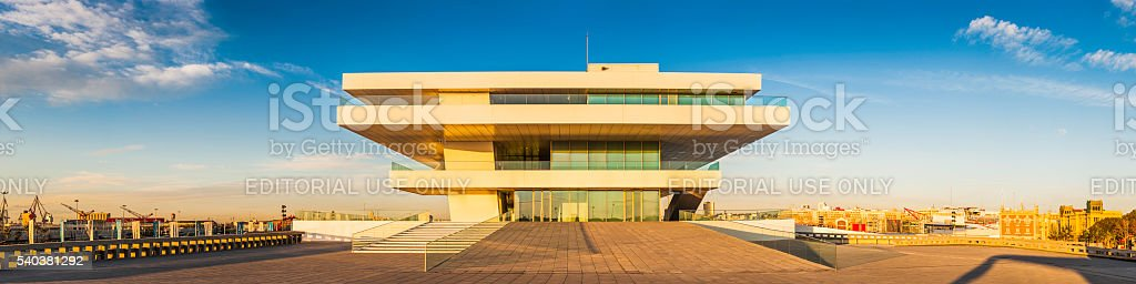 Futuristic pavilion illuminated at sunset Veles e Vents Valencia Spain stock photo