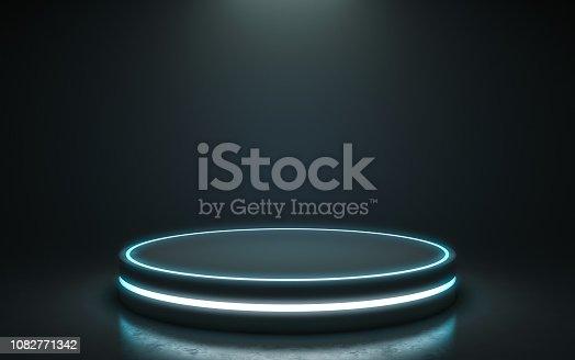 istock Futuristic pedestal for display 1082771342