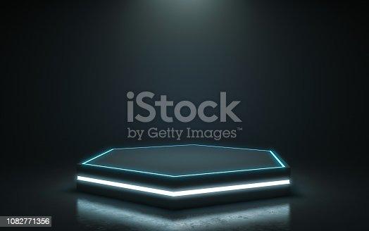 istock Futuristic pedestal for display 1082771356