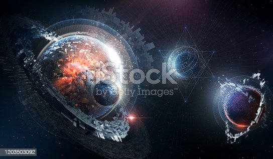 Futuristic planets formation in space. Artistic 3D design