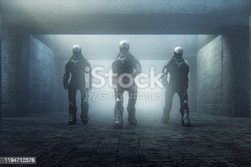 Futuristic police cyborgs walking in old corridor. This is entirely 3D generated image.