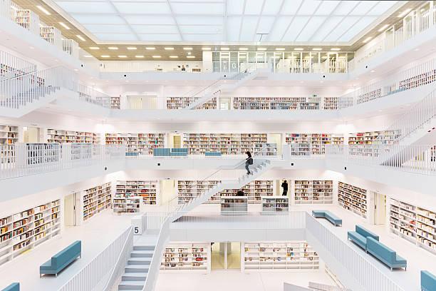 futuristische public bibliothek - deutsche bibliothek stock-fotos und bilder
