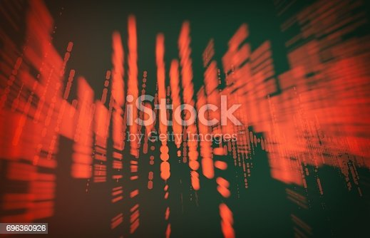 istock Futuristic pulse hud. Audio digital equalizer technology background (very high resolution) 3D 696360926