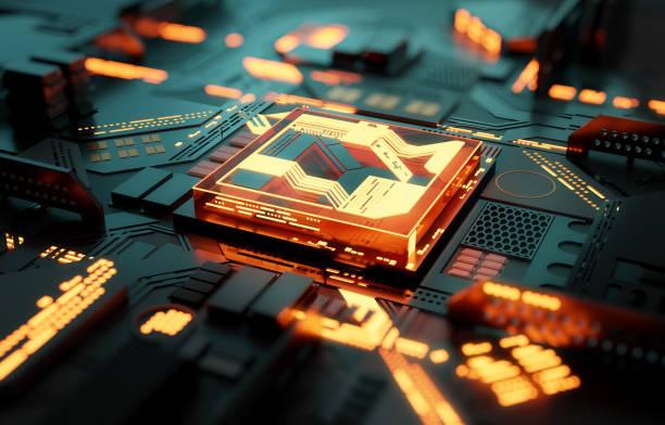 Futuristisches Quantum CPU Prozessorkonzept – Foto