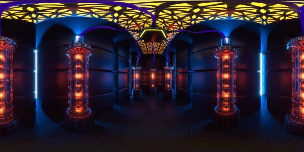 sala de servidores cuánticas futuristas 360o - 360 fotografías e imágenes de stock