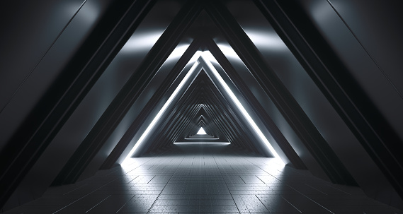 Futuristic Realistic Sci-FI Corridor With White Lights And Reflections. 3D Rendering