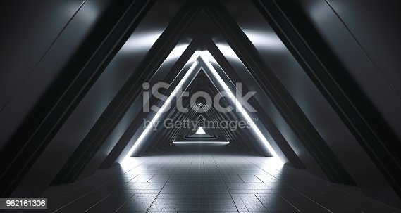 967676748istockphoto Futuristic Realistic Sci-FI Corridor With White Lights And Reflections. 3D Rendering 962161306