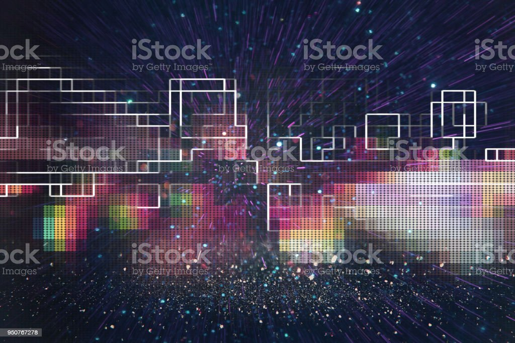 Futuristic retro background of the 80`s retro style. Digital or Cyber Surface. neon lights and geometric pattern stock photo
