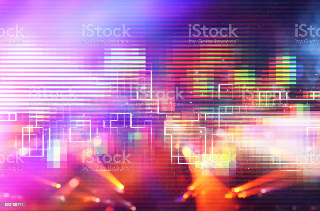 Futuristic retro background of the 80`s retro style. Digital or Cyber Surface. neon lights and geometric pattern. stock photo