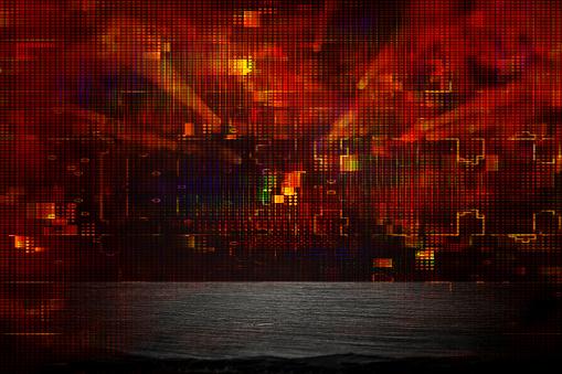 Retro Futuristik Arka Planını 80 S Retro Tarzı Dijital Veya Cyber Yüzey Neon Işıkları Ve Geometrik Desen Stok Fotoğraflar & 1990-1999'nin Daha Fazla Resimleri