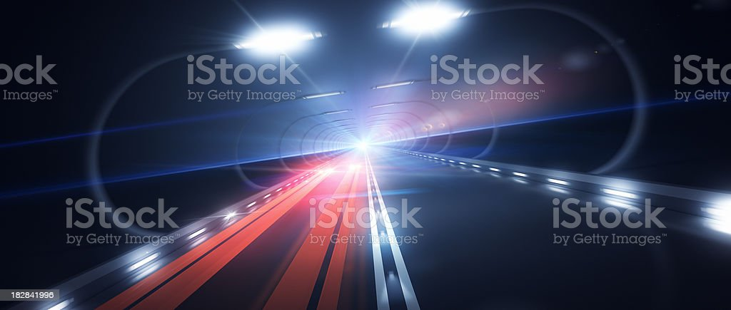 Futuristic Road Zooming Speed with Red Lights royalty-free stock photo