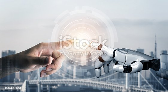 867341648 istock photo Futuristic robot artificial intelligence concept. 1199392133