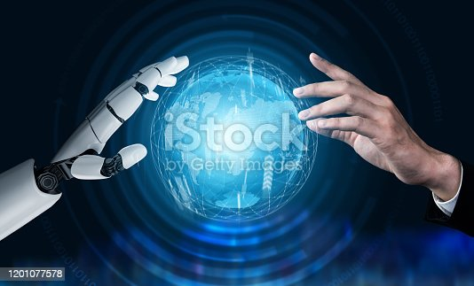 867341648 istock photo Futuristic robot artificial intelligence concept. 1201077578
