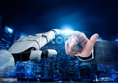 867341648 istock photo Futuristic robot artificial intelligence concept. 1204106024