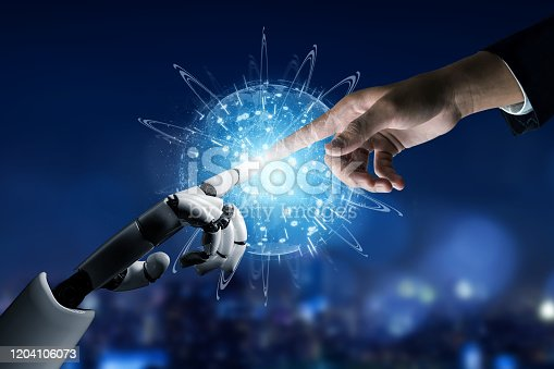 867341648 istock photo Futuristic robot artificial intelligence concept. 1204106073