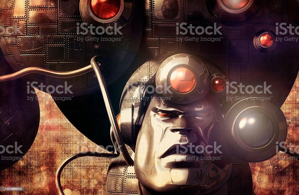 Futuristic robot in sci-fi environment stock photo