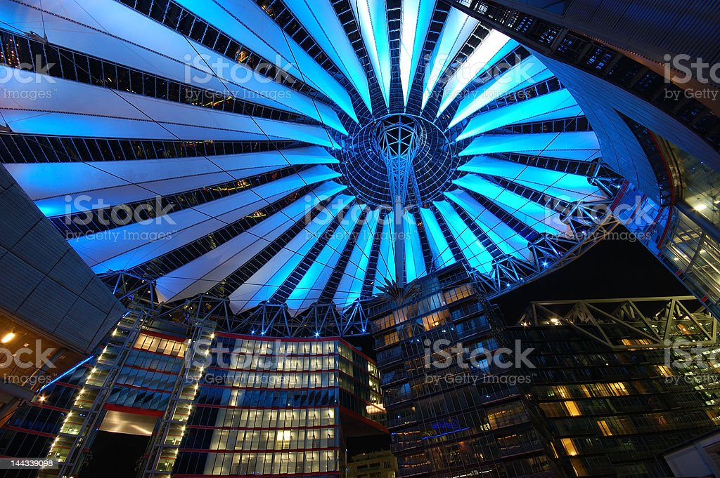 Futuristic Roof of the Sony Center in Berlin stock photo