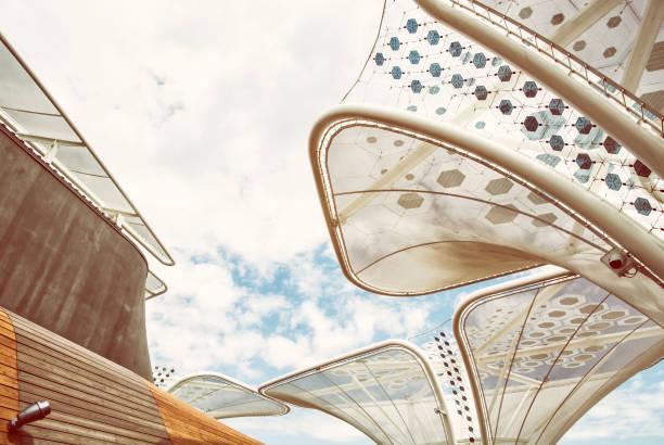 Futuristischen Dach auf der Messe Expo 2015 in Mailand, Gelbfilter – Foto