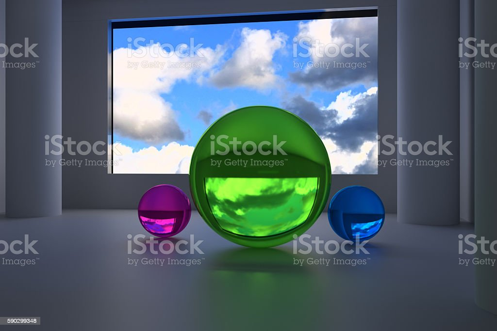 futuristic room with three big spheres royaltyfri bildbanksbilder
