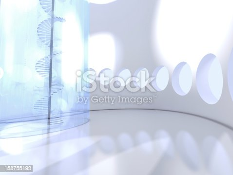 istock Futuristic round indoor with glass spiral staircase 158755193