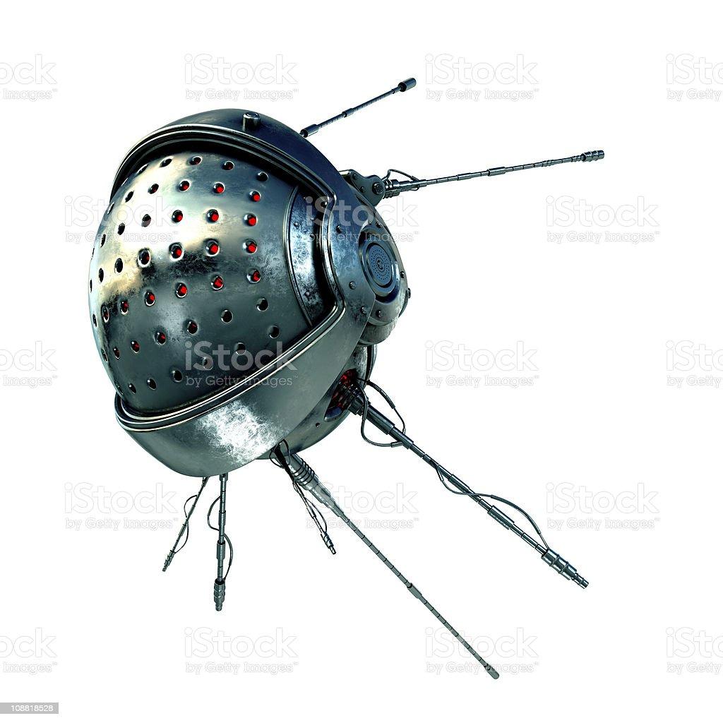 Futuristic satellite with antennas on a white background royalty-free stock photo