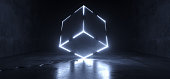 istock Futuristic Sci Fi Grunge Concrete Reflective Dark Room With Huge Rotated Cube Shape Glowing With White Ice Led Lights On Edges Technology Background Lasers Club 3D Rendering 1086669550