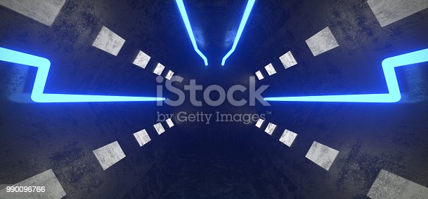 967676748istockphoto Futuristic Sci Fi  Long Hexagon Ship Tunnel With Neon Blue Lights Prespective View And Concrete Walls 3D Rendering 990096766