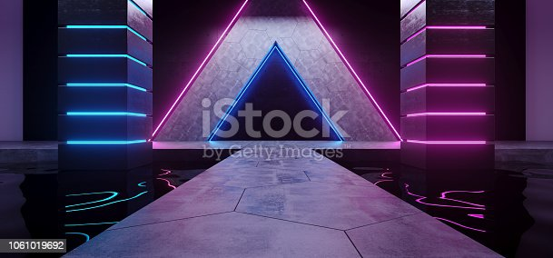 967676748 istock photo Futuristic Sci Fi Modern Alien Ship Dark Empty Grunge Concrete Room Triangle Shapes With Reflective Water Waves And Blue And Purple Glowing Neon Lights Background 3D Rendering 1061019692