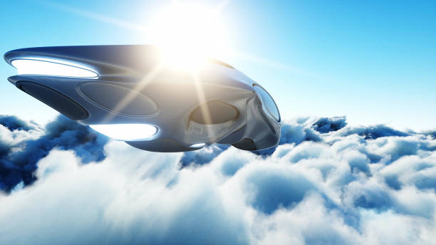Futuristic sci fi ship flying in the clouds. 3d rendering. stock photo