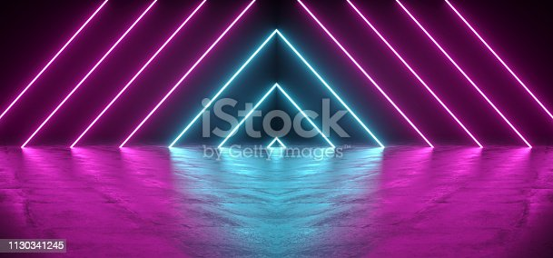 istock Futuristic Sci-Fi Abstract Blue And Purple Neon Light Shapes On Black Background And Reflective Concrete With Empty Space For Text 3D Rendering 1130341245