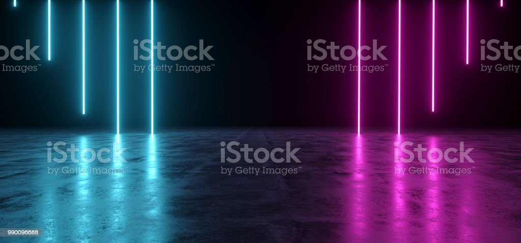 Futuristic Sci-Fi Abstract Blue And Purple Neon Light Shapes On Black Background And Reflective Concrete With Empty Space For Text 3D Rendering stock photo