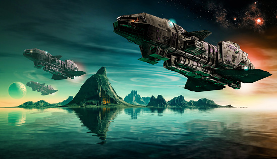 Futuristic sciFi battle space ships hover over an acid ocean of an alien planet, 3d render.