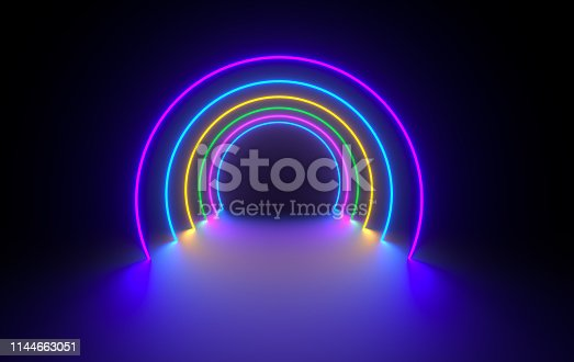 Futuristic sci-fi dark room with glowing neon. Virtual reality portal, vibrant colors, laser energy source. Colorful neon lights